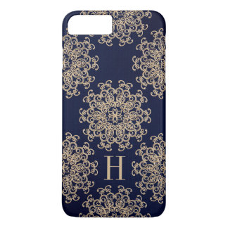 Monogram Navy Blue and Gold Exotic Medallion iPhone 8 Plus/7 Plus Case