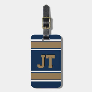 Monogram Navy Blue and Gold Sports Stripes Luggage Tag