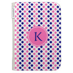 Monogram Navy Blue and Hot Pink Polka Dot Pattern Kindle 3 Covers