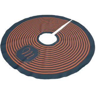Monogram Navy Blue and Orange Striped Brushed Polyester Tree Skirt