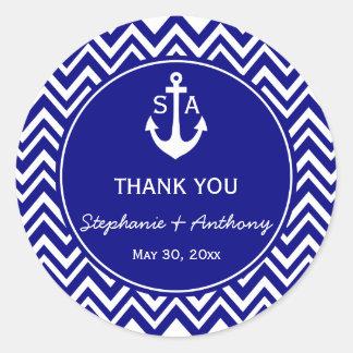 Monogram Navy Blue and White Nautical Wedding Classic Round Sticker