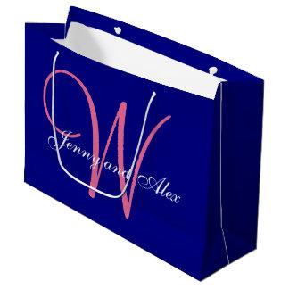 Monogram Navy Blue Azalea Pink Wedding Large Gift Bag