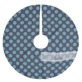 Monogram Navy Blue Baby Blue Polka Dot Pattern Brushed Polyester Tree Skirt