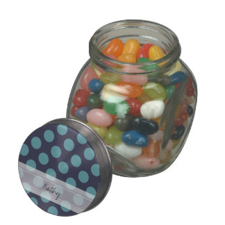 Monogram Navy Blue Baby Blue Polka Dot Pattern Glass Jars