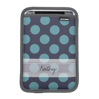 Monogram Navy Blue Baby Blue Polka Dot Pattern iPad Mini Sleeves