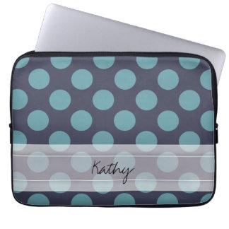 Monogram Navy Blue Baby Blue Polka Dot Pattern Laptop Sleeves