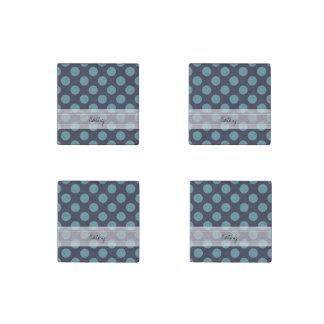 Monogram Navy Blue Baby Blue Polka Dot Pattern Stone Magnet