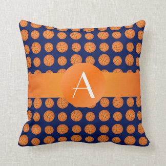 Monogram navy blue basketballs throw pillow