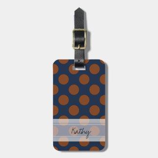 Monogram Navy Blue Brown Chic Polka Dot Pattern Bag Tag