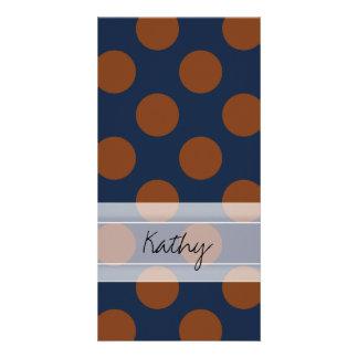 Monogram Navy Blue Brown Chic Polka Dot Pattern Card