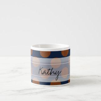 Monogram Navy Blue Brown Chic Polka Dot Pattern Espresso Cup