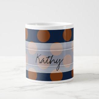 Monogram Navy Blue Brown Chic Polka Dot Pattern Large Coffee Mug