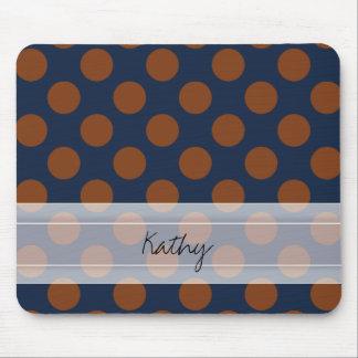 Monogram Navy Blue Brown Chic Polka Dot Pattern Mouse Pad