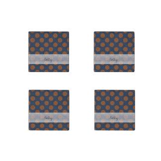 Monogram Navy Blue Brown Chic Polka Dot Pattern Stone Magnet