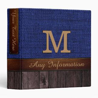 Monogram Navy Blue Burlap Rustic Jute Look Wood Binder