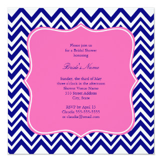 Monogram Navy Blue Chevron Pattern with Hot Pink 5.25x5.25 Square Paper Invitation Card