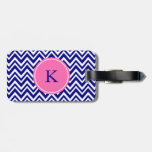 Monogram Navy Blue Chevron Pattern with Hot Pink Luggage Tags
