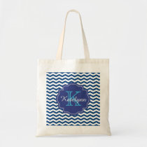 Monogram Navy Blue Chevron Zigzag Custom Tote Bag