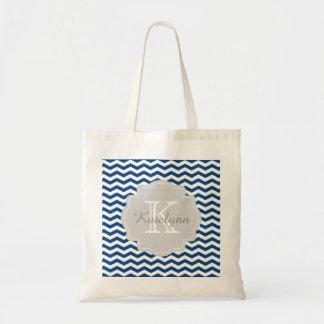 Monogram Navy Blue Chevron Zigzag Custom Tote Bag