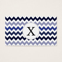 Monogram Navy Blue Chevron ZigZag Pattern Business Card