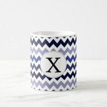 Monogram Navy Blue Chevron ZigZag Pattern Coffee Mug