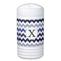 Monogram Navy Blue Chevron ZigZag Pattern Cooler
