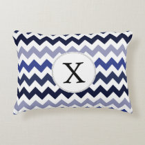Monogram Navy Blue Chevron ZigZag Pattern Decorative Pillow