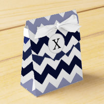 Monogram Navy Blue Chevron ZigZag Pattern Favor Box