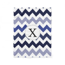 Monogram Navy Blue Chevron ZigZag Pattern Fleece Blanket