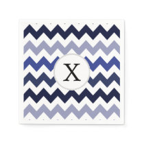 Monogram Navy Blue Chevron ZigZag Pattern Napkin