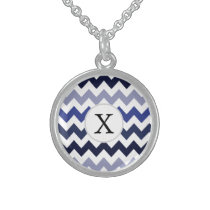 Monogram Navy Blue Chevron ZigZag Pattern Sterling Silver Necklace