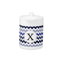 Monogram Navy Blue Chevron ZigZag Pattern Teapot