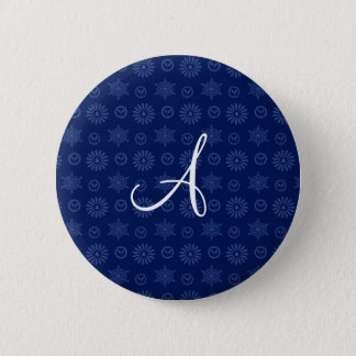 Monogram navy blue christmas stars snowflakes pinback button
