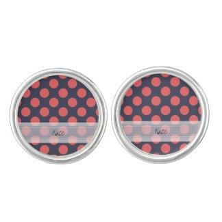 Monogram Navy Blue Coral Pink Polka Dot Pattern Cufflinks