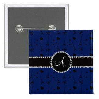 Monogram navy blue eiffel tower pattern 2 inch square button
