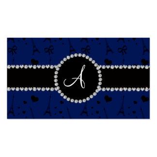 Monogram navy blue eiffel tower pattern business cards