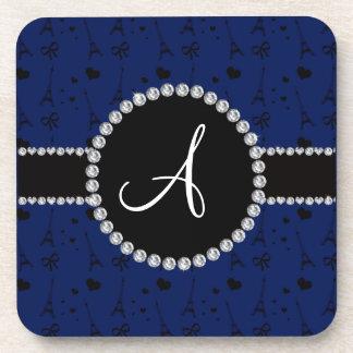 Monogram navy blue eiffel tower pattern beverage coaster