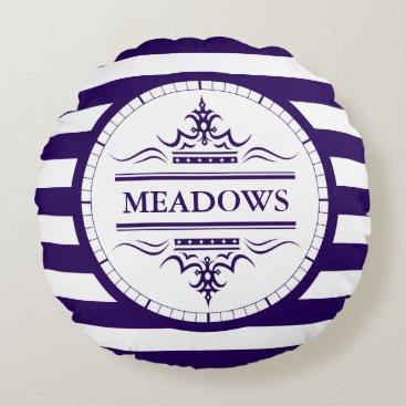 Beach Themed Monogram Navy Blue Elegant Nautical Throw Pillow