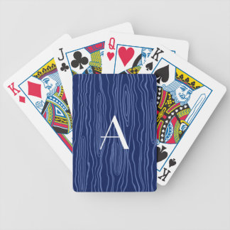 Monogram navy blue faux bois bicycle playing cards