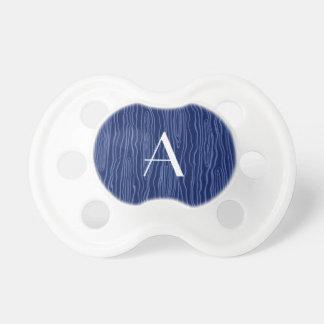 Monogram navy blue faux bois BooginHead pacifier