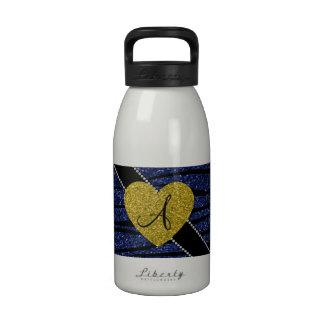 Monogram navy blue glitter zebra stripes heart water bottles