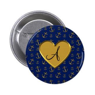 Monogram navy blue gold anchors gold heart 2 inch round button