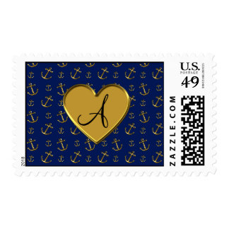 Monogram navy blue gold anchors gold heart postage stamp