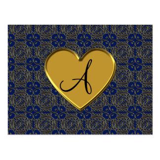 Monogram navy blue gold moroccan damask post cards