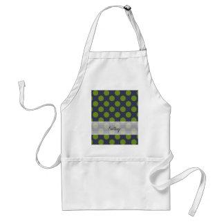 Monogram Navy Blue Green Chic Polka Dot Pattern Adult Apron