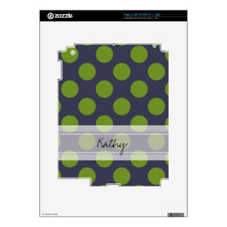 Monogram Navy Blue Green Chic Polka Dot Pattern Decal For The iPad 2