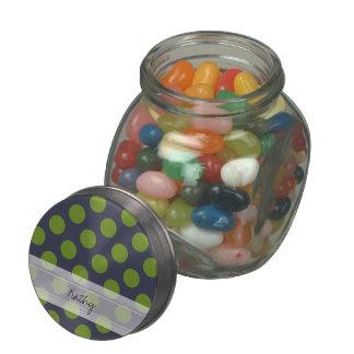 Monogram Navy Blue Green Chic Polka Dot Pattern Glass Candy Jar
