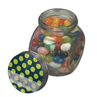 Monogram Navy Blue Green Chic Polka Dot Pattern Jelly Belly Candy Jar