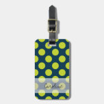 Monogram Navy Blue Green Chic Polka Dot Pattern Luggage Tag