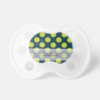 Monogram Navy Blue Green Chic Polka Dot Pattern Pacifier